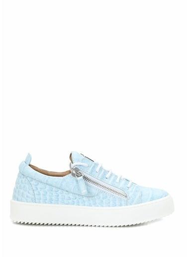 Giuseppe Zanotti Giuseppe Zanotti Gail  Krokodil Dokulu Kadın Deri Sneaker 101624571 Mavi